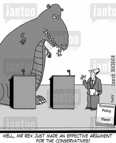 panel cartoon humor: 'Well, Mr Rex just made an effective argument for the Conservatives!'