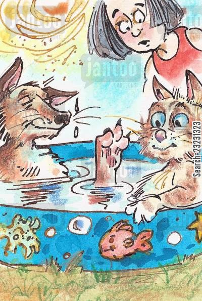 heatwave cartoon humor: Dog and cat in paddling pool.