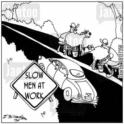 goat station cartoon humor: Slow, Men at Work.
