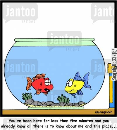 enclosed space cartoon humor: 'You've been here for less than five minutes and you already know all there is to know about me and this place...'