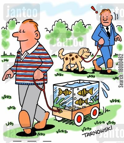 dog walks cartoon humor: Taking goldfish for a walk.