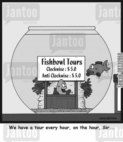 fishbowls cartoon humor: 'We have a tour every hour, on the hour, Sir...'