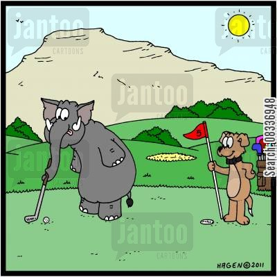 thinking outside the box cartoon humor: Elephant playing Golf