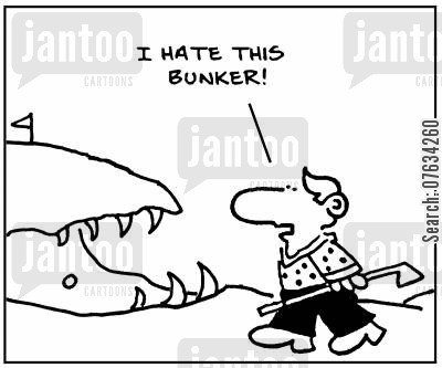 sharks mouths cartoon humor: I hate this bunker!
