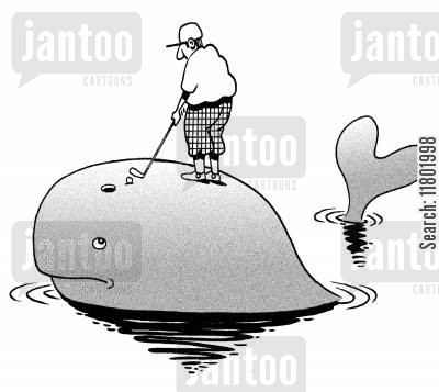 blow holes cartoon humor: Golfer putting into whale's blowhole.