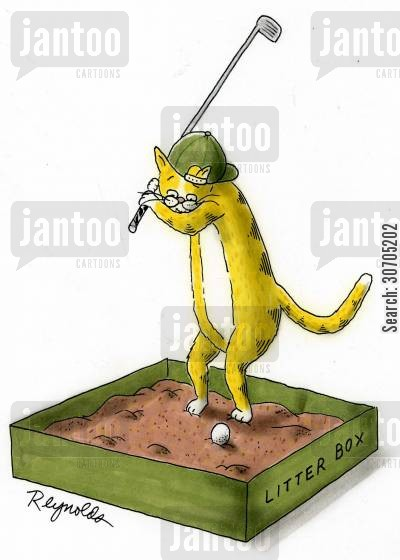 golf clothes cartoon humor: Cat playing Golf.