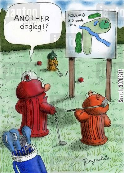 golf clothes cartoon humor: 'Another dogleg!?'