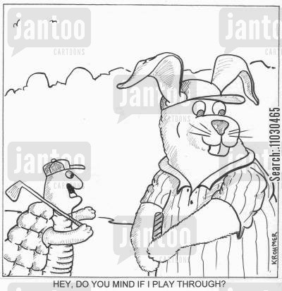 playing golf cartoon humor: Hey, do you mind if I play through?