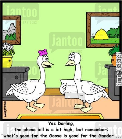 big bills cartoon humor: 'Yes Darling, the phone bill is a bit high, but remember: 'What's good for the Goose is good for the Gander'...'