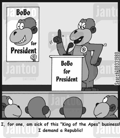 run for office cartoon humor: 'I, for one, am sick of this 'King of the Apes' business I demand a Republic'