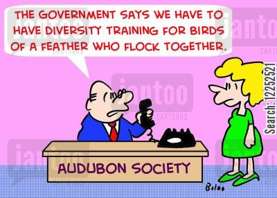 flock together cartoon humor: 'The Government says we have to have diversity training for birds of a feather who flock together.'