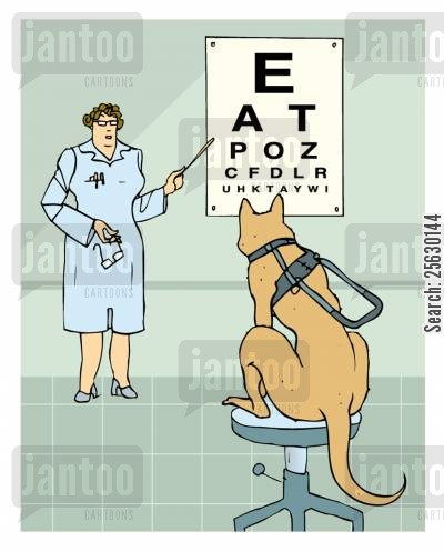 blind cartoon humor: Guide dog with eyesight proplem.