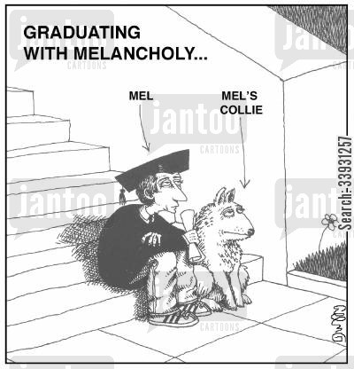 collies cartoon humor: Graduating with Melancholy...