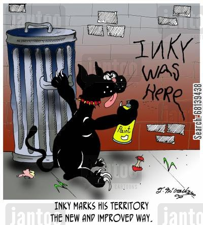 graffiti artists cartoon humor: Inky marks his territory the new and improved way.