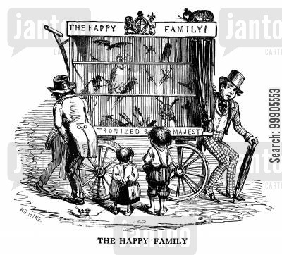 gratiutous exhibitions cartoon humor: The Happy Family - Viewing the Menagerie