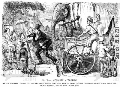 industrial revolution cartoon humor: Memorials of The Great Exhibition - 1851. No. X. - A delicate attention.