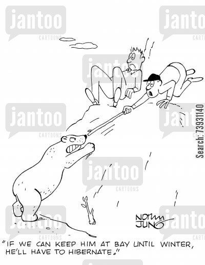 bear attack cartoon humor: 'If we can keep him at bay until winter, he'll have to hibernate.'