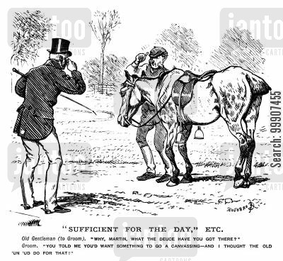old horses cartoon humor: 'Sufficient for the Day,' etc