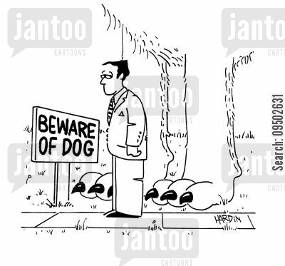 giant dog cartoon humor: Beware of the Dog.