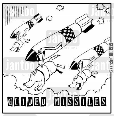 blind people cartoon humor: Guided Missiles.