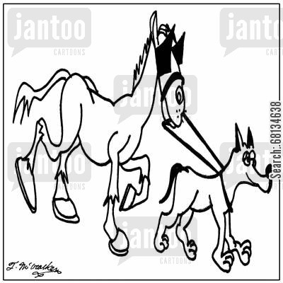 helper dogs cartoon humor: A seeing eye dog leads a horse with blinders on.