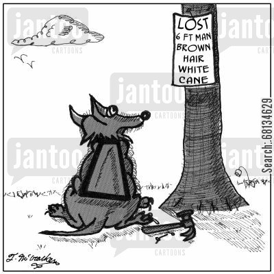helper dogs cartoon humor: Lost Man, brown hair, white cane.