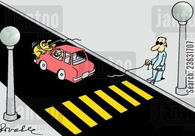 blind man cartoon humor: Guide dog is hit by a car.