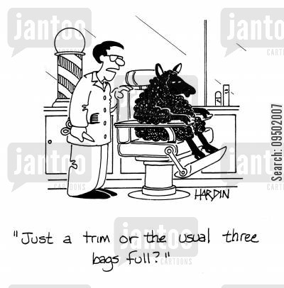 three bags full cartoon humor: 'Just a trim or the usual three bags full?'