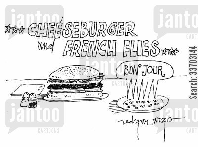 cheeseburger cartoon humor: Cheeseburger and French Flies.