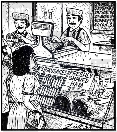 razor blades cartoon humor: Freshly shaved ham.