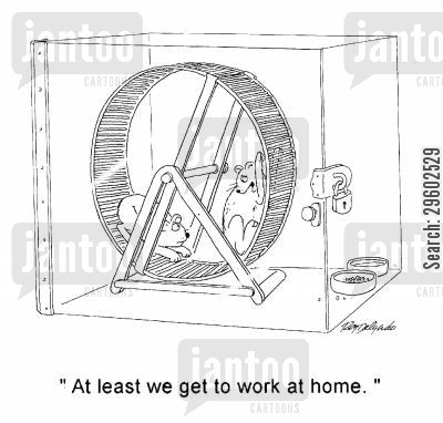 positive thinking cartoon humor: 'At least we get to work at home.'