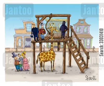 noose cartoon humor: HANGING GIRAFFE.