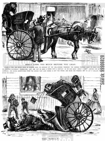 hansom cab cartoon humor: A man riding in a hansom cab for the first time