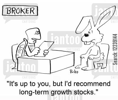 growth stocks cartoon humor: 'It's up to you, but I'd recommend long-term growth stocks.'