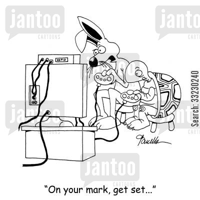 aesops fables cartoon humor: 'On your mark, get set...'