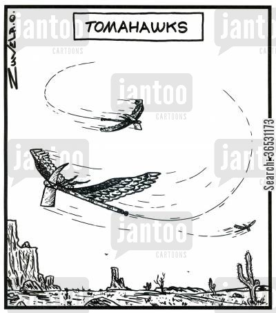 hawks cartoon humor: Tomahawks (axes flying around.)