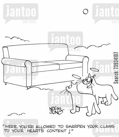 sharpen cartoon humor: 'Here, you're allowed to sharpen your claws to your heart's content!'