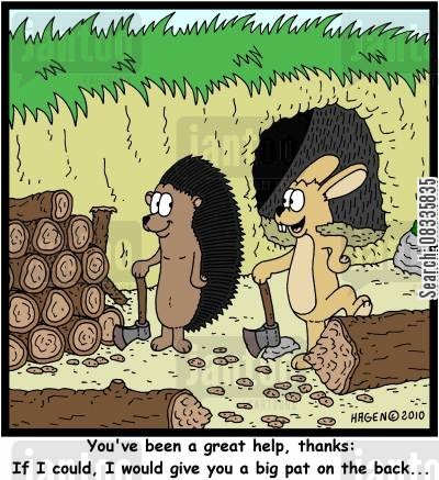 spiky cartoon humor: 'You've been a great help, thanks: If I could, I would give you a big pat on the back...'