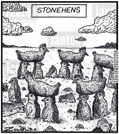 ancient monuments cartoon humor: Stonehens.