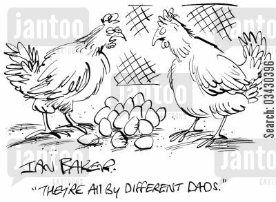 paternity cartoon humor: 'They're all by different dads.'