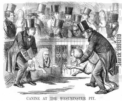 lord derby cartoon humor: Canine at the Westminster Pit - Lord Palmerston and Lord Derby