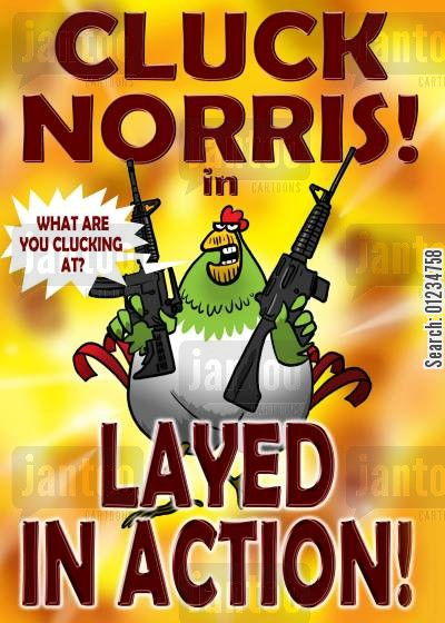 action hearoes cartoon humor: Cluck Norris in...LAYED in ACTION!