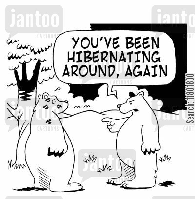 lipstick kiss cartoon humor: 'You've been hibernating around again!'