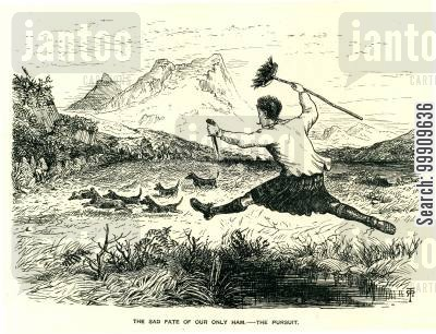 highlands cartoon humor: A Highlander Chasing Dogs with a Knife and a Broom.