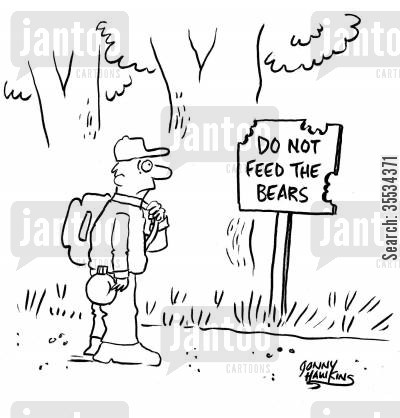 national forest cartoon humor: Man sees half-eaten 'Do Not Feed the Bears' sign