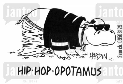 rapping cartoon humor: Hip-hop-opotamus.