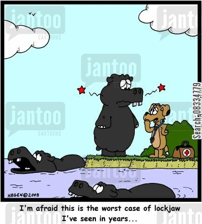 jaw cartoon humor: 'I'm afraid this is the worst case of lockjaw I've seen in years...'