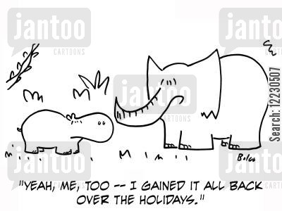 elephants cartoon humor: 'Yeah, me, too — I gained it all back over the holidays.'
