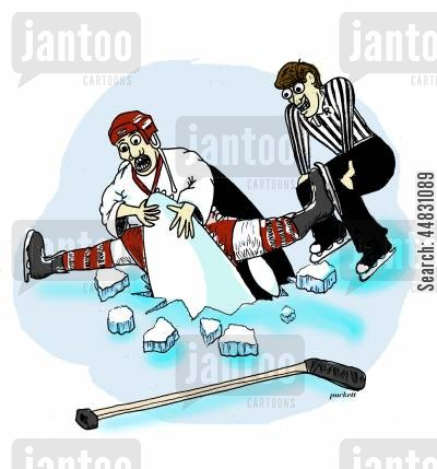 orca cartoon humor: An orca bursts through the ice to seize a hockey player.