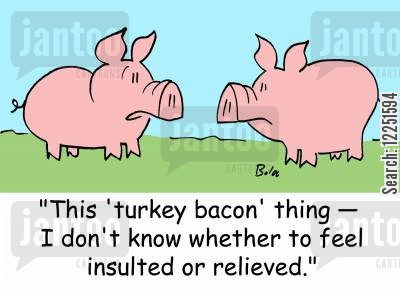turkey bacon cartoon humor: 'This 'turkey bacon' thing -- I don't know whether to feel insulted or relieved.'